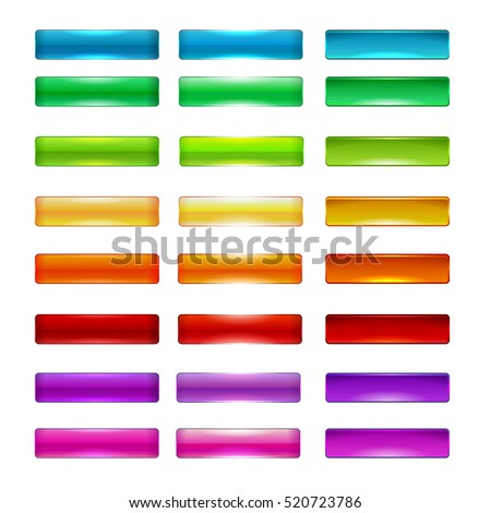 Colorful set of web buttons, vector illustration. Green, blue, yellow, orange, red, pink, purple, gray, white colors.