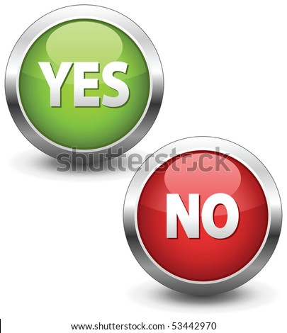 Colorful set of Yes/No buttons