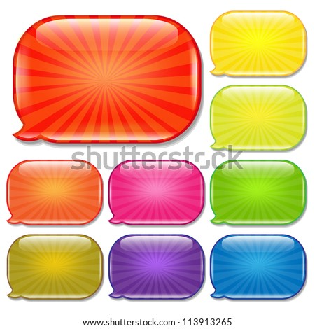 Colorful Set Speech Bubbles, Isolated On White Background, Vector Illustration