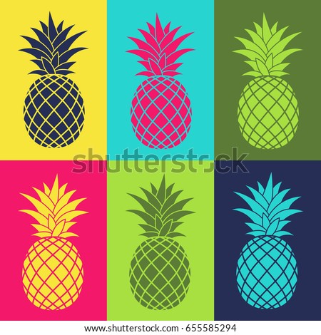 colorful set with pineapple