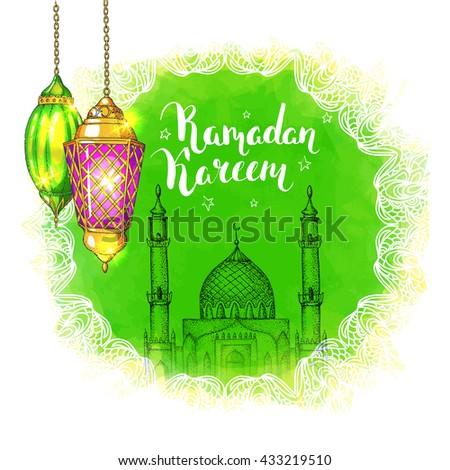 colorful shiny arabic lanterns