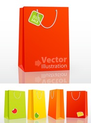 Colorful shopping bag on white background with stickers. Vector illustration.