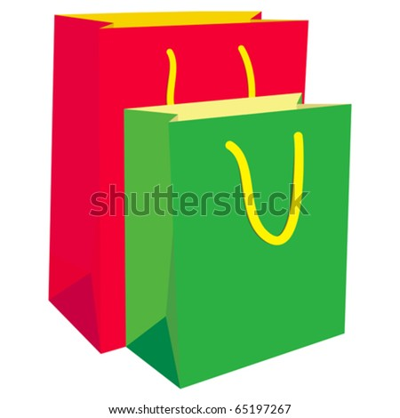 Colorful shopping bags isolated over a white background.