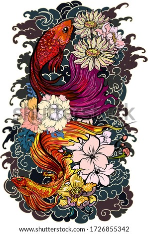 Colorful Siamese fighting fish or betta fish swimming in Japanese wave with peony and daisy flowers for hand drawn tattoo art design in  geometric and circular ornament frame