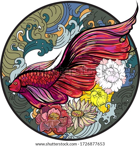 Colorful Siamese fighting fish or betta fish swimming in Japanese wave with peony and daisy flowers for hand drawn tattoo art design in  geometric and circular ornament circle frame.