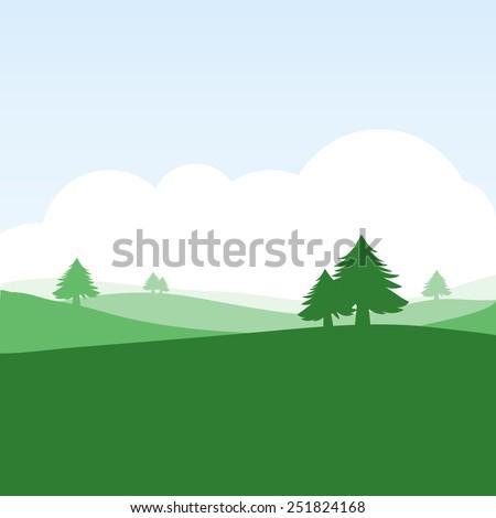colorful silhouette landscape