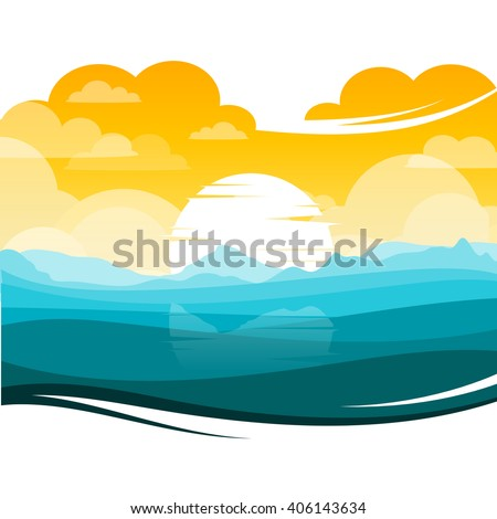 colorful silhouette landscape