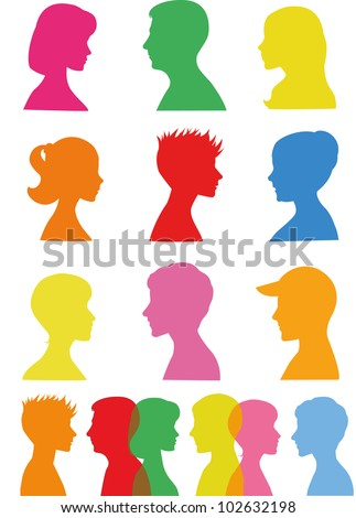 Colorful silhouettes, profiles