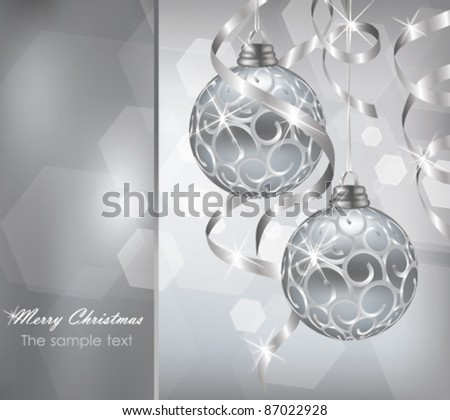 Colorful silver christmas decoration baubles in vector