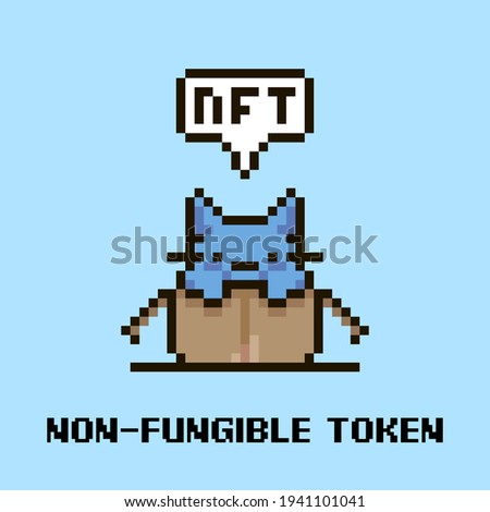 colorful simple flat pixel art illustration of cartoon cute kitten sitting in an open cardboard box and speech-bubble with text NFT and non-fungible token in it