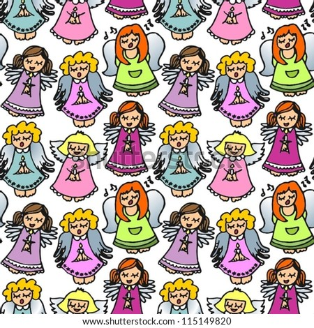 colorful singing angels on white  background seamless pattern