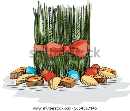 Colorful sketch of Khoncha for Nowruz Holiday. Samani decorated with ribbon. Sweet pastries such as pakhlava, shekerbura and eggs are placed around.