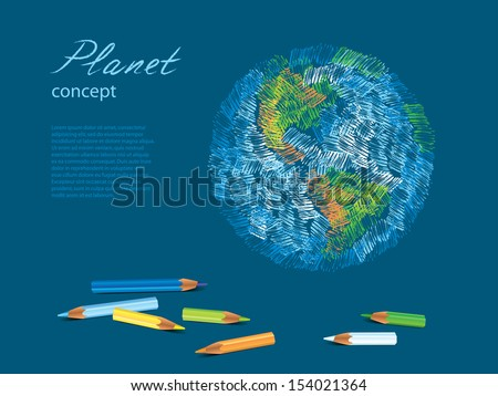 colorful sketch of planet earth