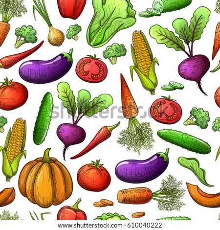 Colorful sketch style seamless pattern of vegetables . Eco organic fresh template with vegetables for the decoration of menu. Vector. #610040222
