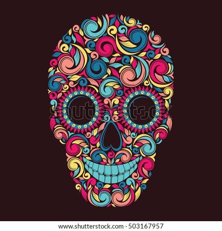 Colorful skull. Vector illustration