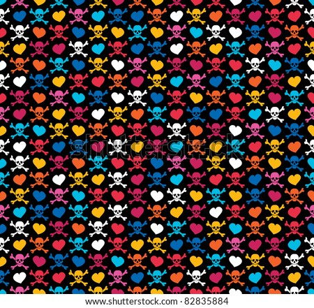 Colorful skulls and hearts on black background - seamless pattern