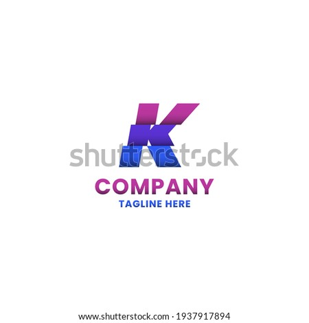 Colorful sliced letter K monogram initial logo with shadow in white background Stock fotó ©