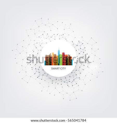 Colorful Smart City Design Concept - Digital Network Connections, Technology Background