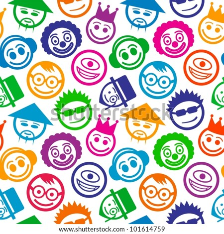 colorful smiley faces seamless