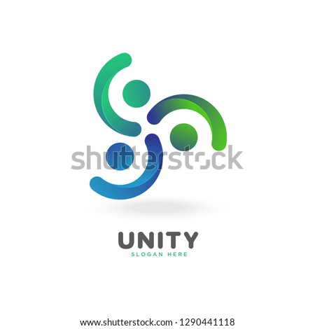 colorful smooth gradient unity logo, people, social, vector, eps 10