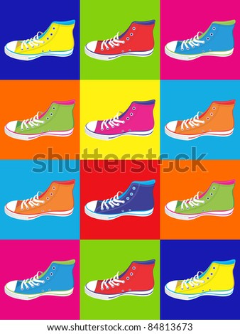Colorful sneakers on differentes colors background. Vector available