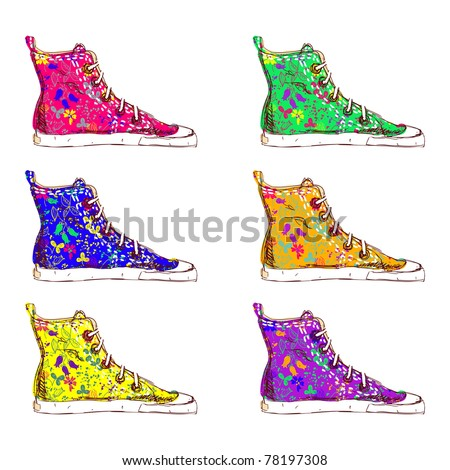 Colorful sneakers with floral texture