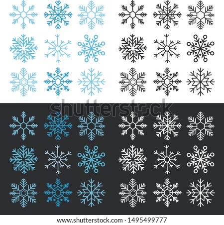 Colorful snowflake collection isolated on black and white background. Flat snow icon, snow flakes silhouette. Handwriting snowflakes for christmas banner, cards. New year snowfall.