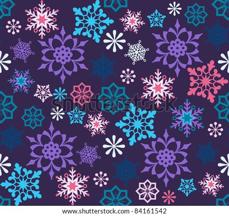Colorful snowflakes seamless  pattern