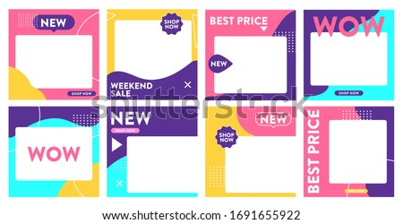 Colorful social media post template, for baby store and fashion. Minimalistic geometric concept. Alternate design is available for your need, suitable for your promotion.