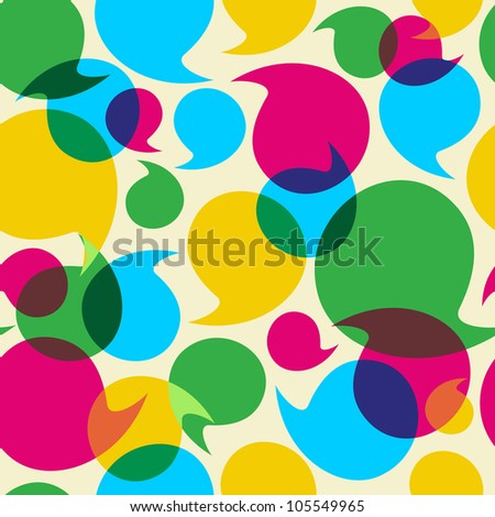 Colorful social media speech transparency bubbles seamless pattern background. Vector file layered for easy manipulation and custom coloring.