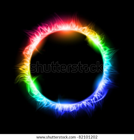 Colorful Solar eclipse. Illustration on black background for design