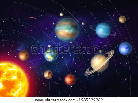 colorful solar system with nine