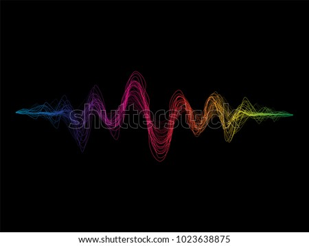 Colorful sound waves rough lines flow isolated on black background for music, sound, science or technology concept vector design element.