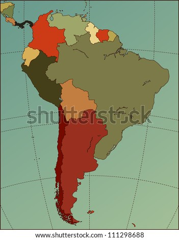 Colorful South America Map. Cartography collection. Vector illustration.