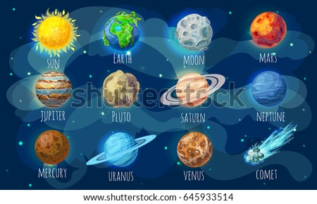 colorful space elements set