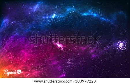 Colorful Space Galaxy Background with Shining Stars, Stardust and Nebula. Vector Illustration for artwork, party flyers, posters, brochures
