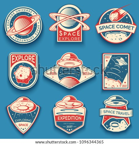 Colorful space, UFO and planet labels, logos, badges, emblems. Explore mission in space