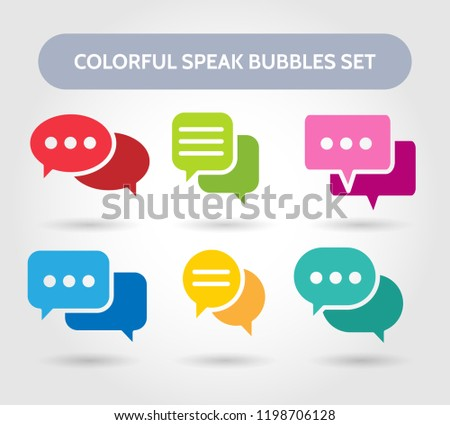 Colorful speech bubble signs. Vector color bubbles shapes for chatting or chat conversation