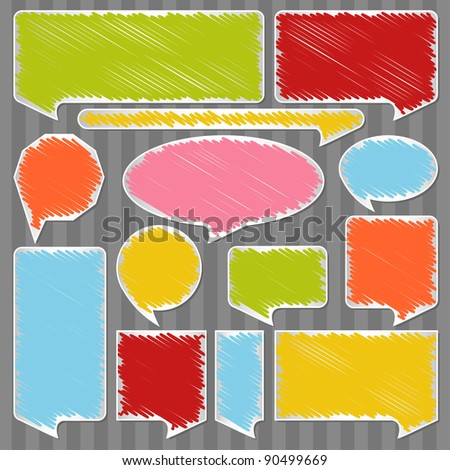 Colorful speech bubbles and balloons illustration collection background