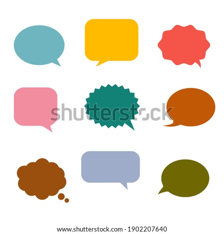 Colorful speech bubbles and dialog balloons on white background