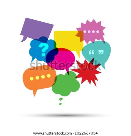 colorful speech bubbles, communication concept, vector design