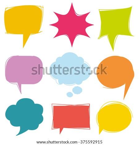 colorful speech bubbles, vector cute communication bubbles, bubble collection