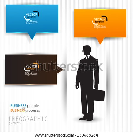 Colorful speech bubbles. Vector template with business man for infographics