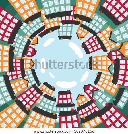 Colorful spherical town. Vector illustration.