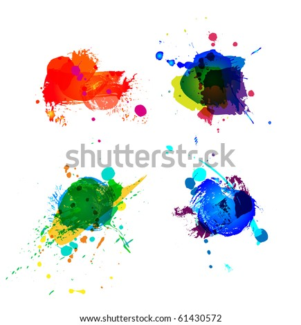 Colorful splashes on white background
