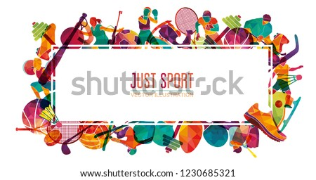 Colorful sport background. Football, basketball, hockey, soccer, golf, tennis, biathlon, snowboarding, skating, ice skiing, figure, freestyle. Vector illustration