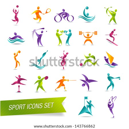 Colorful sports icon set vector illustration - stock vector