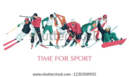 Colorful sportsmen, athletes set. Winter sport. Hockey, biathlon, snowboarding, skating, ice skiing, figure, freestyle. Vector illustration