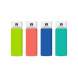 Colorful spray paint can in flat cartoon style isolated on white background. Simple illustration of colored paint bottle sticker label, graffiti tools isolated on white background. Vector