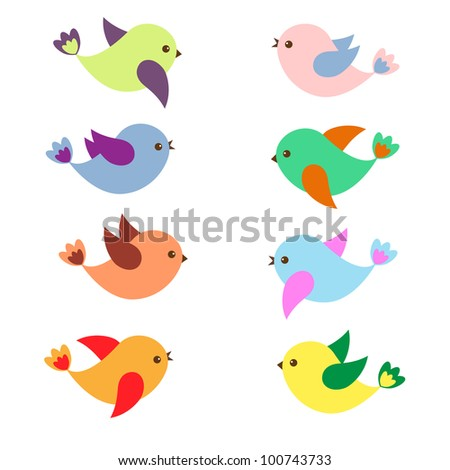 Colorful Spring birds .Vector set